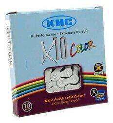Biały łańcuch rowerowy KMC X10 Color