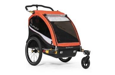Podwójna przyczepka rowerowa dla dzieci Burley Cub X Atomic Red