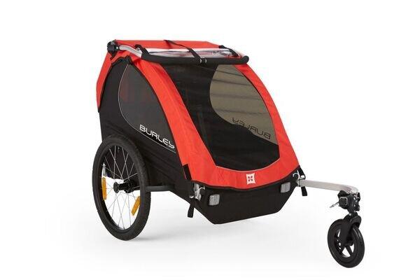 Podwójna przyczepka rowerowa dla dzieci Burley Honey Bee - czerwona