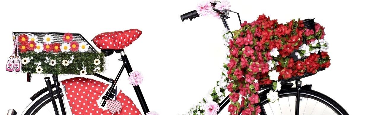 Ozdoby na koszyki rowerowe