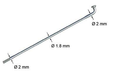 Srebrna szprycha cieniowana Sapim Race 2,0 x 1,8 x 2,0 mm