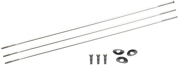 Zestaw 3 szprych typu Straight Pull wraz z kompletem nypli oraz podkładek Zipp CX Ray – kolor srebrny